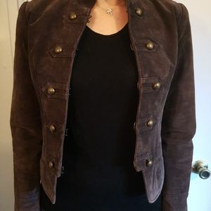 Cropped leather military jacket